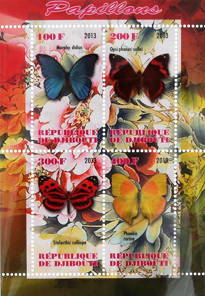 Почтовый блок в 4 марки Бабочки - 2. Джибути, 2013 год блок марок бабочки кот д ивуар 2013