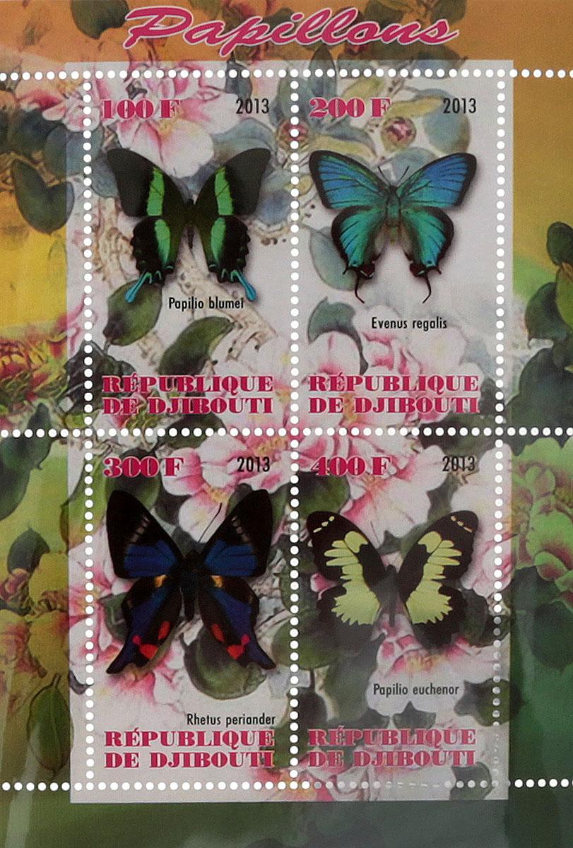 Почтовый блок в 4 марки Бабочки - 1. Джибути, 2013 год блок марок бабочки кот д ивуар 2013