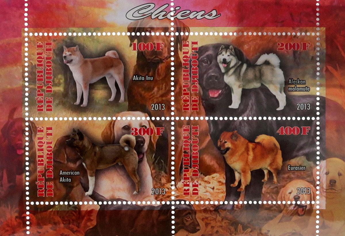 Почтовый блок в 4 марки Собаки. Джибути, 2013 год почтовый блок в 4 марки дикие африканские звери лев слон носорог ягуар джибути 2013 год