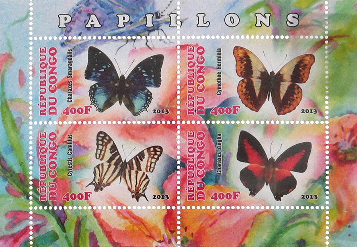 Почтовый блок в 4 марки Бабочки - 1. Конго, 2013 год блок марок бабочки кот д ивуар 2013