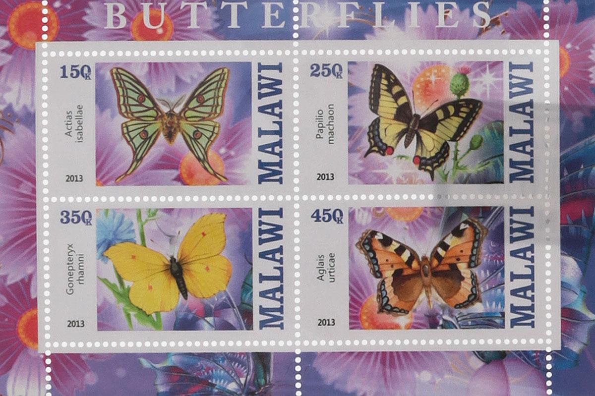 Почтовый блок в 4 марки Бабочки - 1. Малави, 2013 год блок марок бабочки кот д ивуар 2013