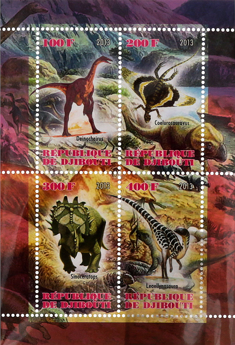 Почтовый блок в 4 марки Динозавры. Джибути, 2013 год почтовый блок в 4 марки дикие африканские звери лев слон носорог ягуар джибути 2013 год