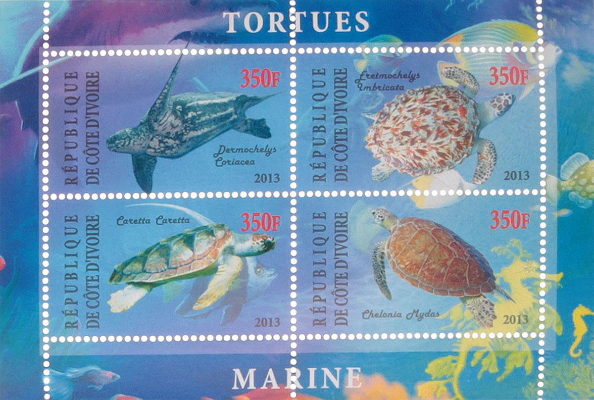Почтовый блок в 4 марки Морские черепахи - 1. Кот-д'Ивуар, 2013 год почтовый блок в 4 марки дикие африканские звери лев слон носорог ягуар джибути 2013 год