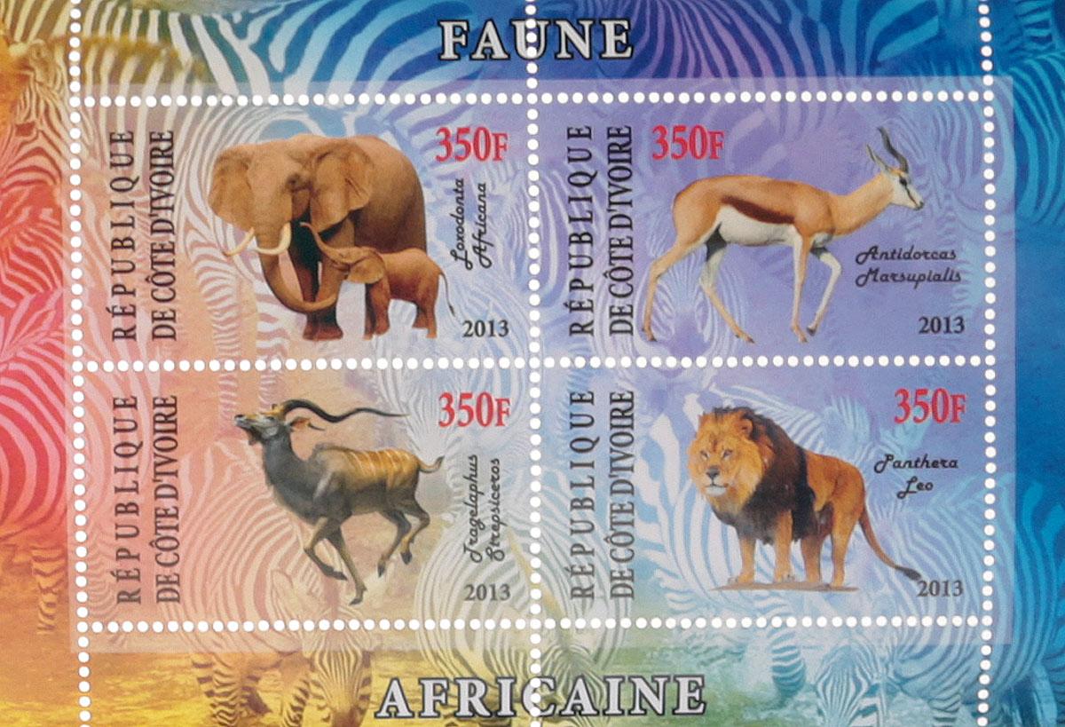 Почтовый блок в 4 марки Дикие африканские звери - 1. Кот-д'Ивуар, 2013 год почтовый блок в 4 марки дикие африканские звери лев слон носорог ягуар джибути 2013 год