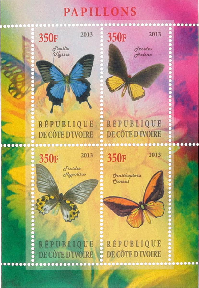 Почтовый блок в 4 марки Бабочки - 1. Кот-д'Ивуар, 2013 год блок марок бабочки кот д ивуар 2013
