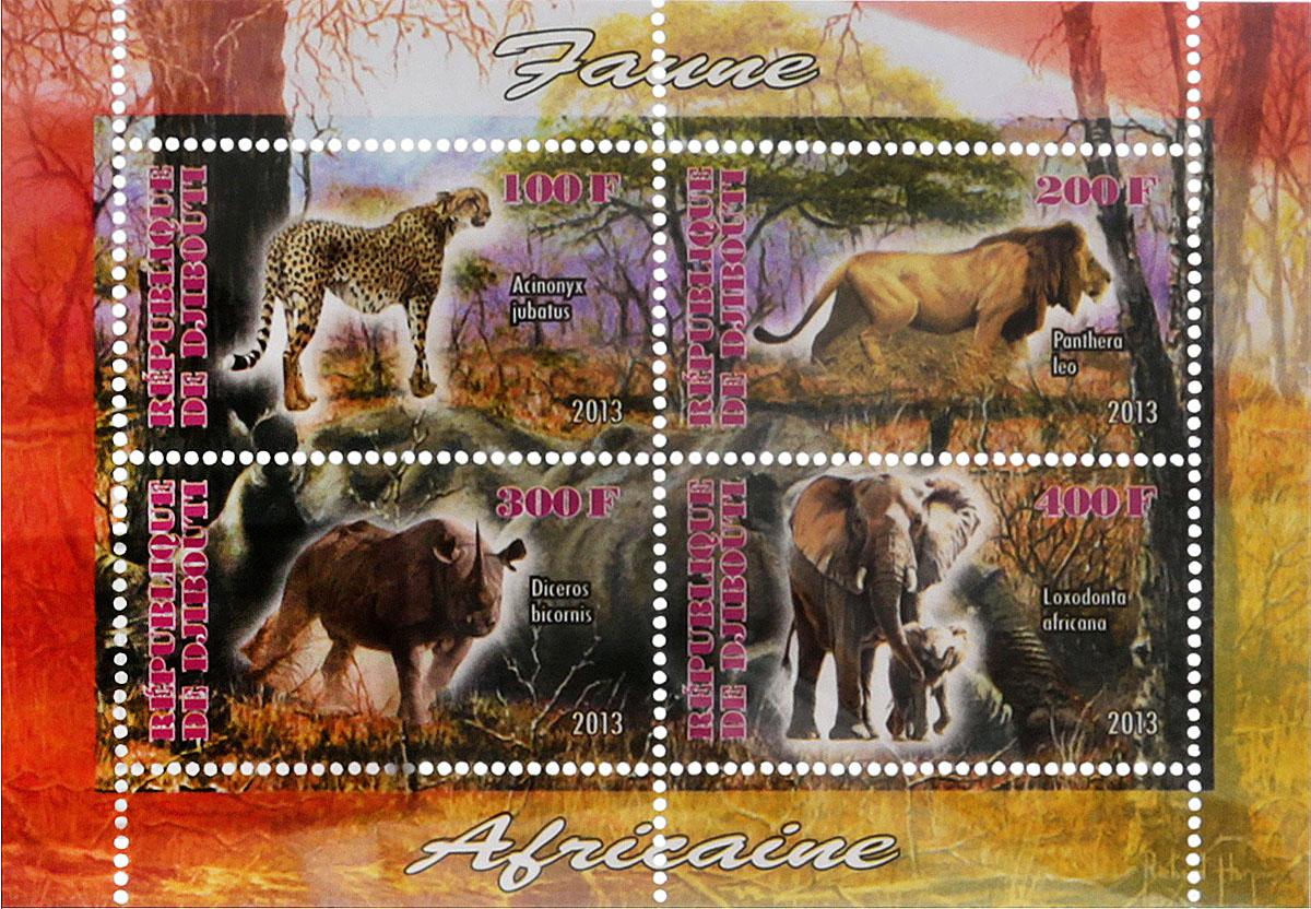 Почтовый блок в 4 марки Дикие африканские звери - лев, слон, носорог, ягуар. Джибути, 2013 год почтовый блок в 4 марки дикие африканские звери лев слон носорог ягуар джибути 2013 год