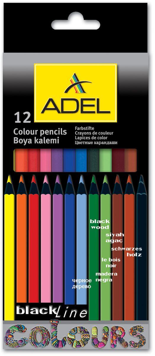 Adel Набор цветных карандашей Blackline 12 цветов