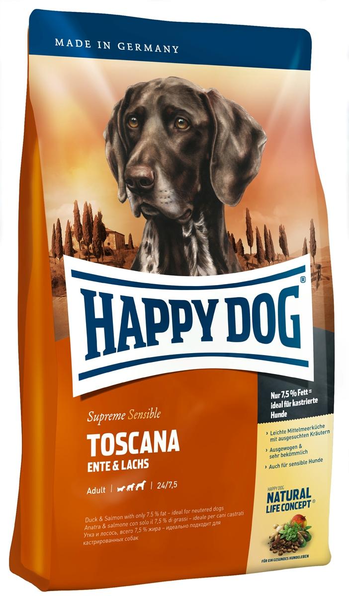 """Корм сухой Happy Dog """"Тоскана"""" для собак средних и крупных пород, с уткой и лососем, 1 кг"""