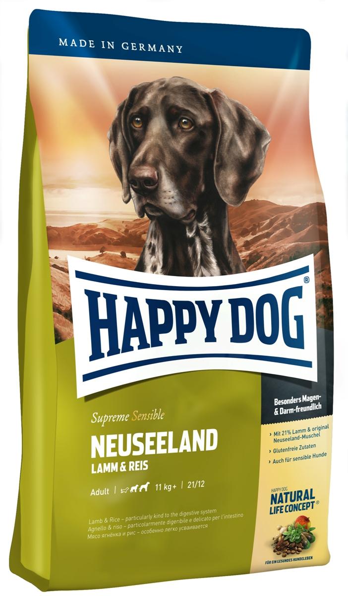 Корм сухой Happy Dog Новая Зеландия для собак средних и крупных пород, с ягненком и рисом, 1 кг корм сухой happy dog новая зеландия для собак мелких пород ягненок с рисом 4 кг