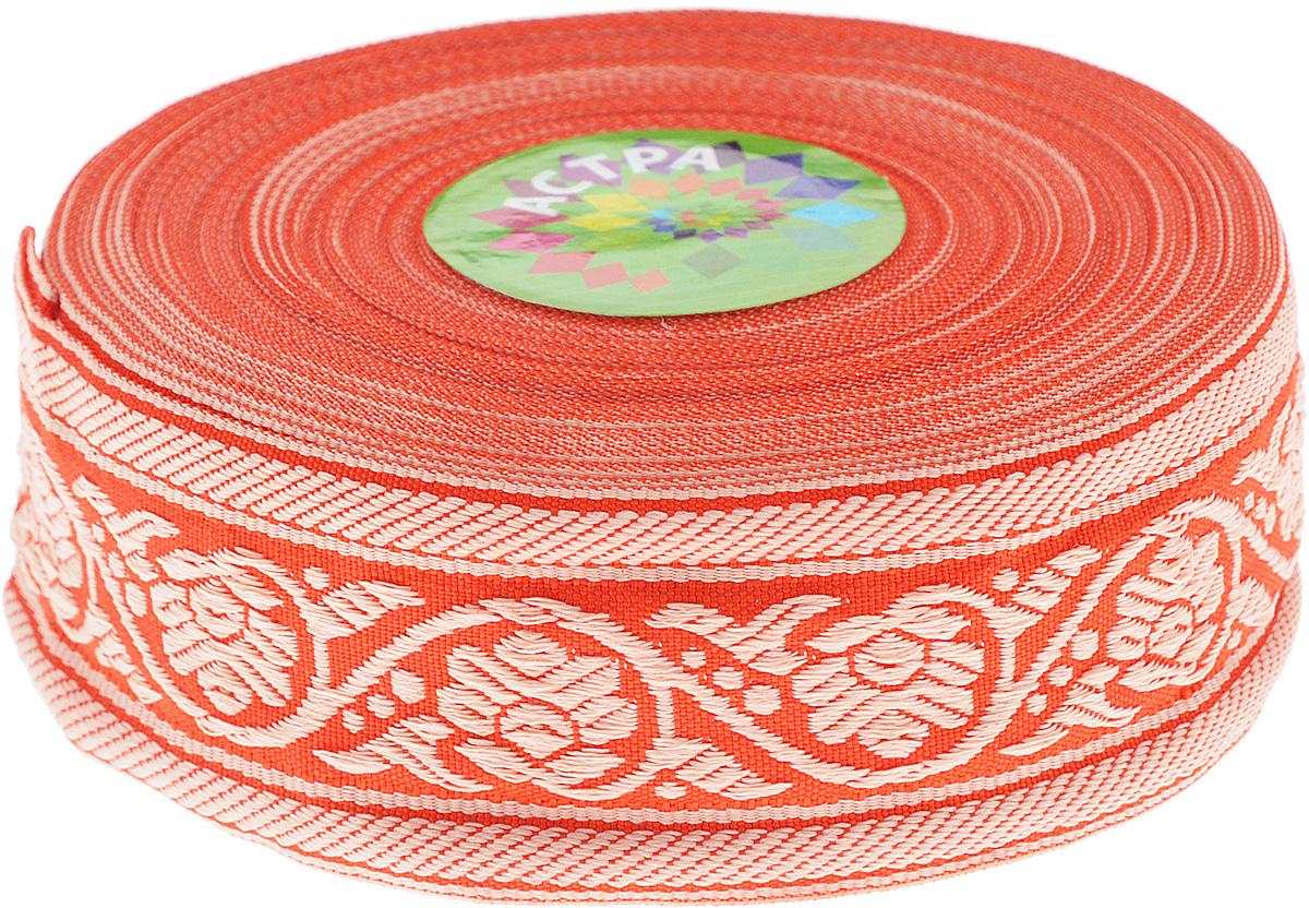 """Тесьма декоративная """"Астра"""", цвет: красный, ширина 3,5 см, длина 16,4 м. 7703348"""