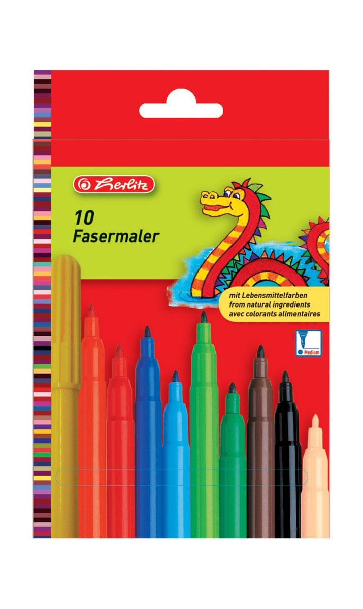 Herlitz Набор фломастеров Fasermaler 10 цветов набор цветных фломастеров fibralo акварель 30 цветов