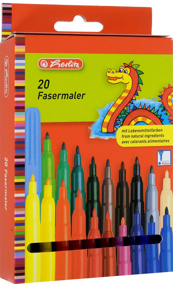 Herlitz Набор фломастеров Fasermaler 20 цветов набор цветных фломастеров fibralo акварель 30 цветов