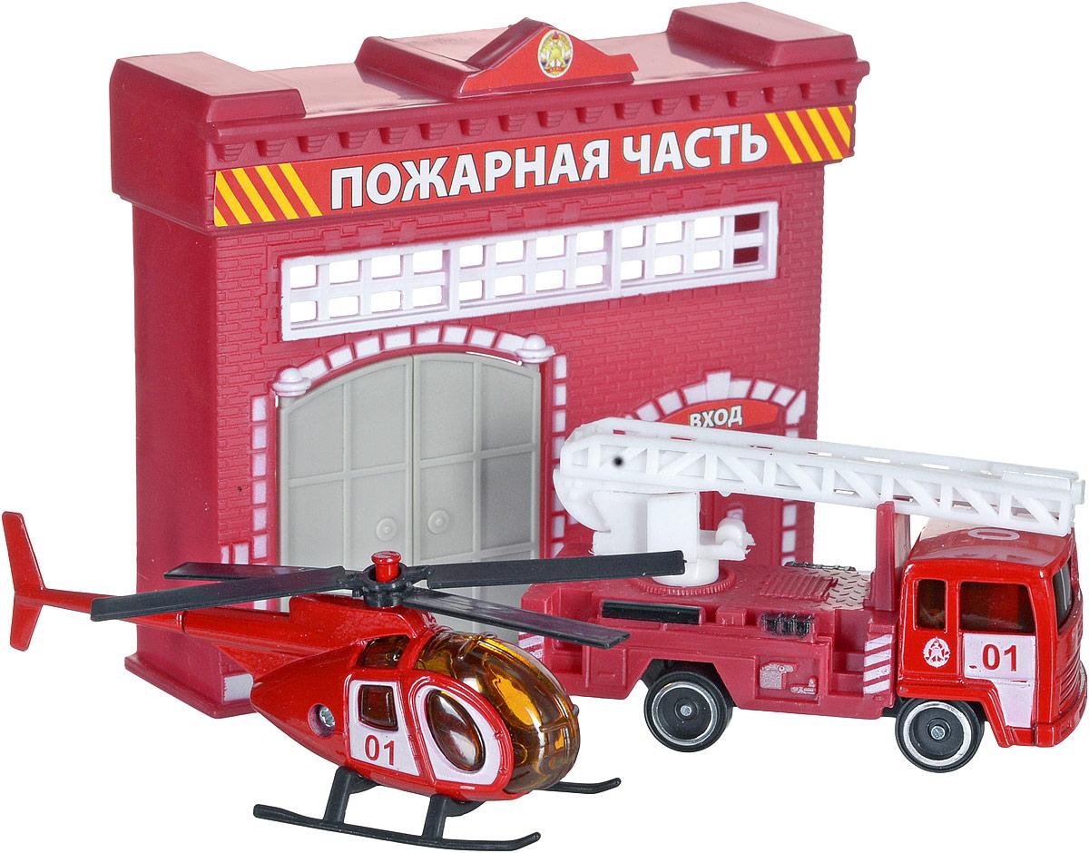 ТехноПарк Игровой набор Пожарная часть гаражи и игровые наборы технопарк игровой набор технопарк парковка спецслужб со спуском