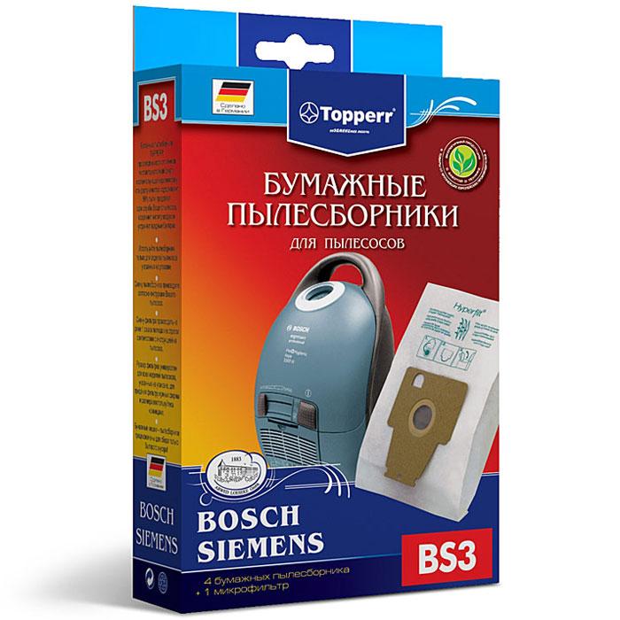 Topperr BS 3 фильтр для пылесосов Bosch, Siemens, 4 шт topperr ex10 фильтр для пылесосов electrolux philips aeg 4 шт