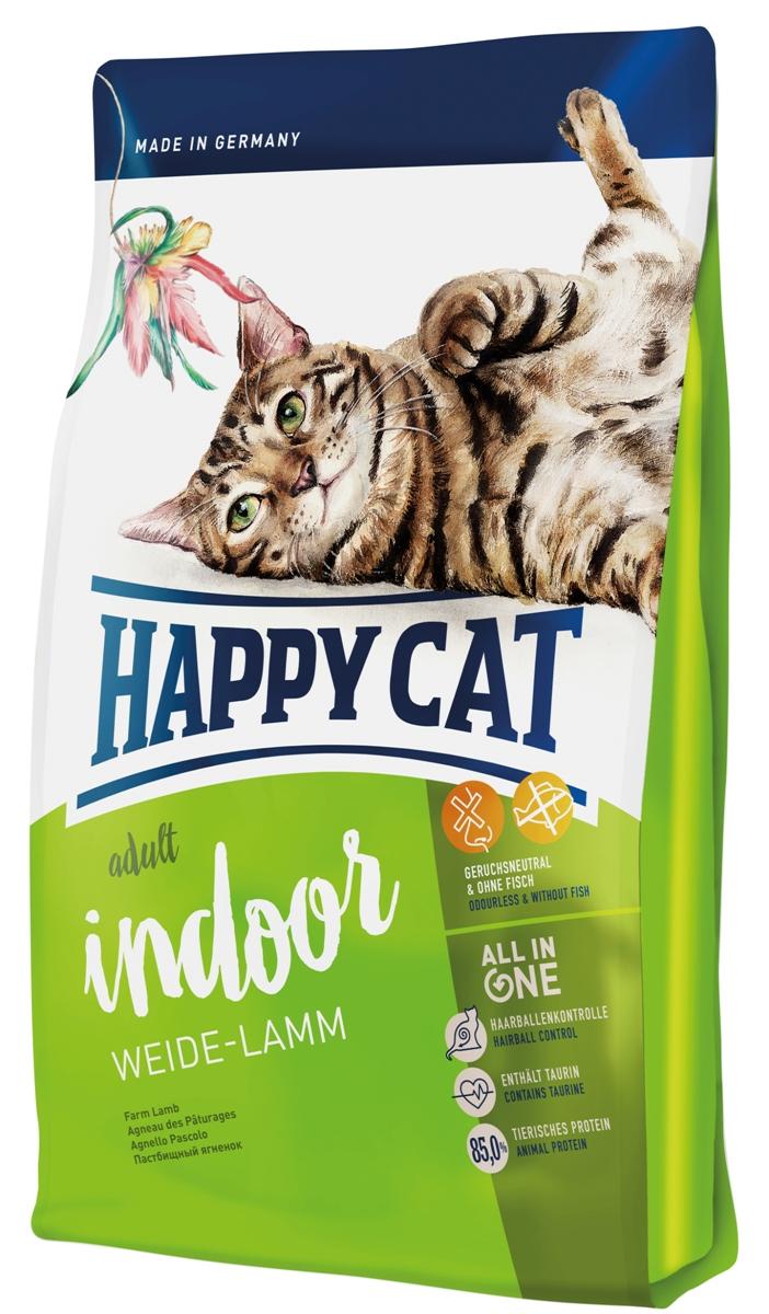 """Корм сухой Happy Cat """"Adult Indoor"""", для кошек с чувствительным пищеварением, пастбищный ягненок, 300 г"""