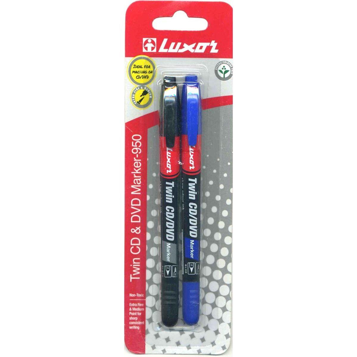 Luxor Набор двусторонних маркеров Twin для CD/DVD цвет черный синий 2 шт