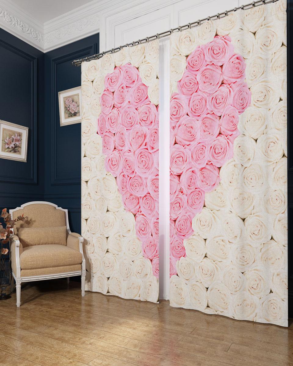 Комплект фотоштор Сирень Сердце из роз, на ленте, высота 260 см01145-ФШ-БЛ-001Фотошторы Сирень Сердце из роз, выполненные из блэкаута, отлично дополнят украшение любого интерьера. Блэкаут - это трехслойная светонепроницаемая ткань - 100% полиэстер, по структуре напоминает плотный хлопок, очень мягкий,с небольшим сероватым оттенком из-за черной нити, входящей в состав ткани. Блэкаут не требует особого ухода, хорошо драпируется. Пропускает солнечные лучи не более 5%. Крепление на карниз при помощи шторной ленты на крючки. В комплекте 2 шторы. Ширина одного полотна: 145 см. Высота штор: 260 см. Рекомендации по уходу: стирка при 30 градусах, гладить при температуре до 110 градусов. Изображение на мониторе может немного отличаться от реального.