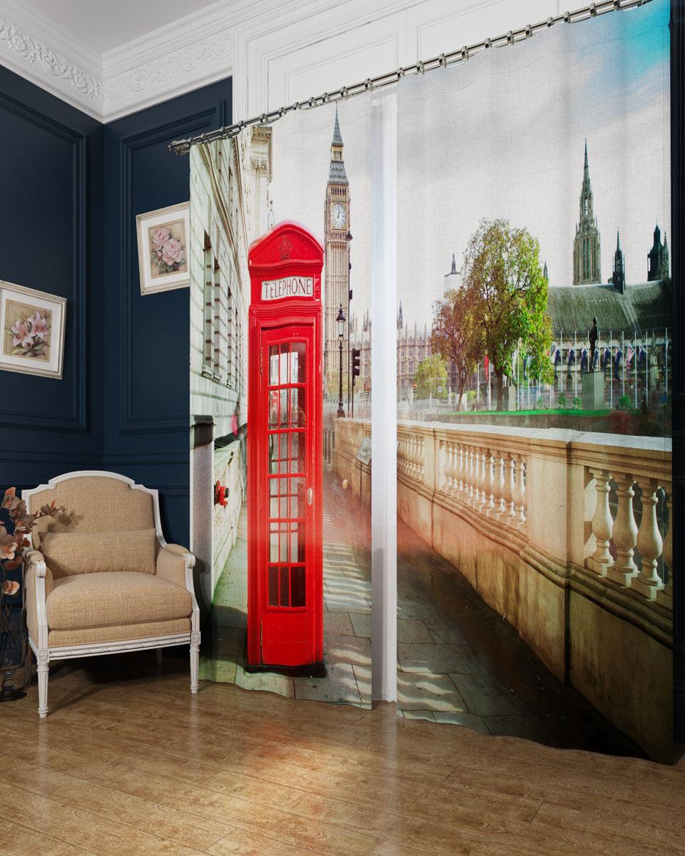 Комплект фотоштор Сирень Символ Лондона, на ленте, высота 260 см фотошторы символ лондона сирень фотошторы символ лондона