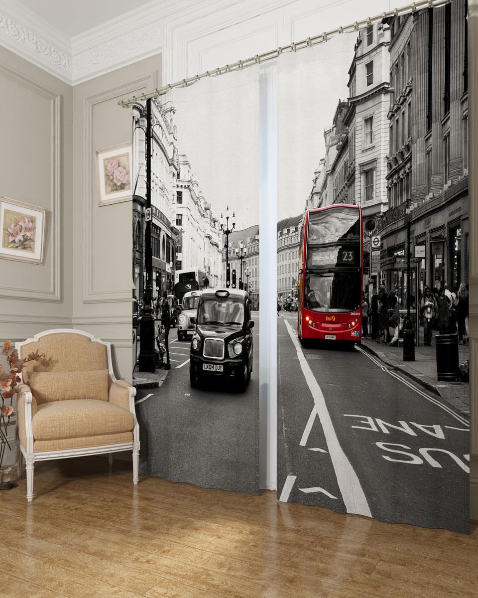 Комплект фотоштор Сирень Классика Лондона, на ленте, высота 260 см. 03895-ФШ-БЛ-001 фотошторы символ лондона сирень фотошторы символ лондона