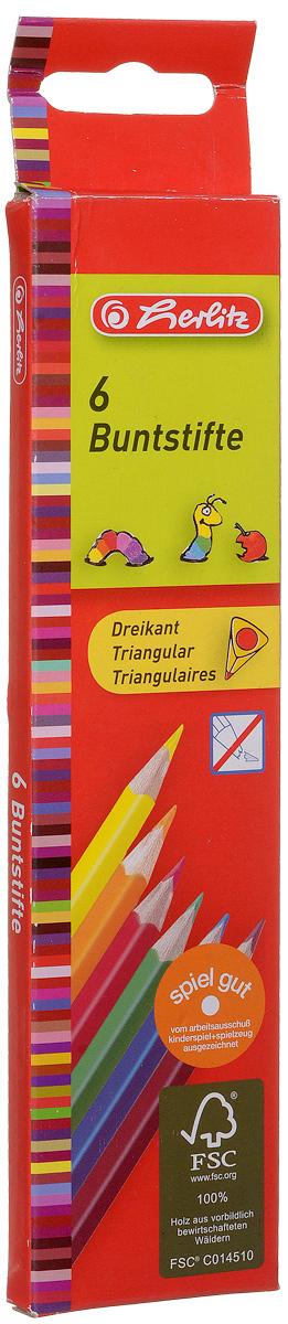 Herlitz Набор цветных карандашей Buntstifte 6 шт herlitz herlitz набор геометрический 4 предмета пластик