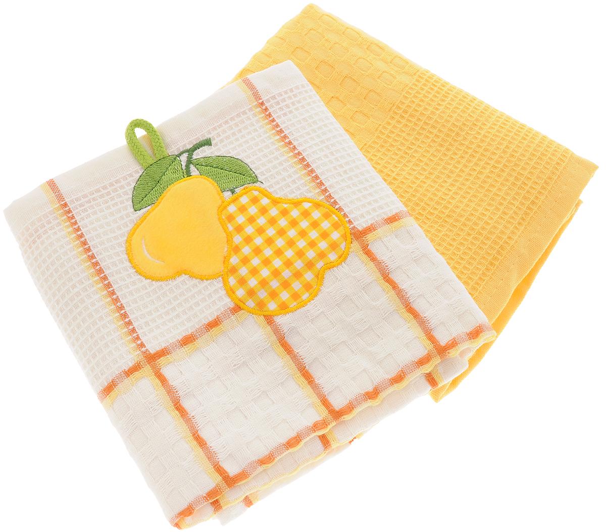 Набор кухонных полотенец Bonita Груша, цвет: желтый, белый, 45 х 70 см, 2 шт набор кухонных полотенец cherir груша 45 70 см 2 предмета