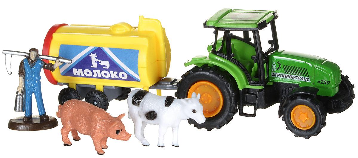 ТехноПарк Игровой набор Трактор с прицепом Молоко строительная техника технопарк трактор с прицепом 1801c 1bcd r 17 см