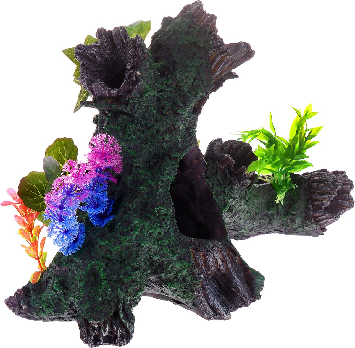 Декорация для аквариума Barbus Коряга с растением, цвет: серый, зеленый, фиолетовый, 34,5 х 17 х 25,5 см декорация для аквариума barbus самолет цвет темно зеленый голубой коричневый 65 х 32 х 24 см