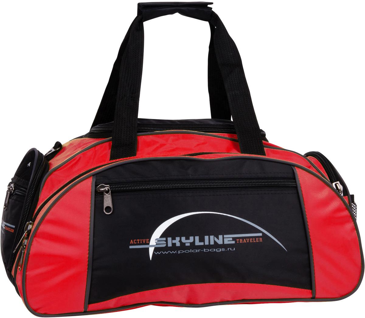 Сумка спортивная Polar Скайлайн, цвет: черный, красный, 36 л. 6063 сумка спортивная polar скайлайн цвет черный желтый серый 53 л п05 6