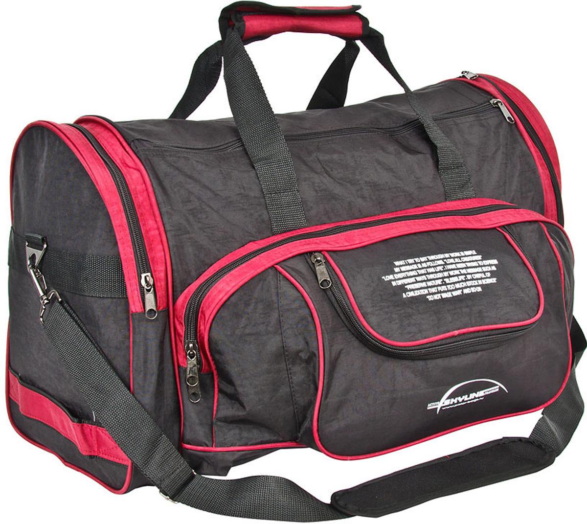 Сумка спортивная Polar Тревел, цвет: черный, красный, 44,5 л, 55 х 27 х 30 см. 6066 сумка спортивная easy camp denver denim 30 л
