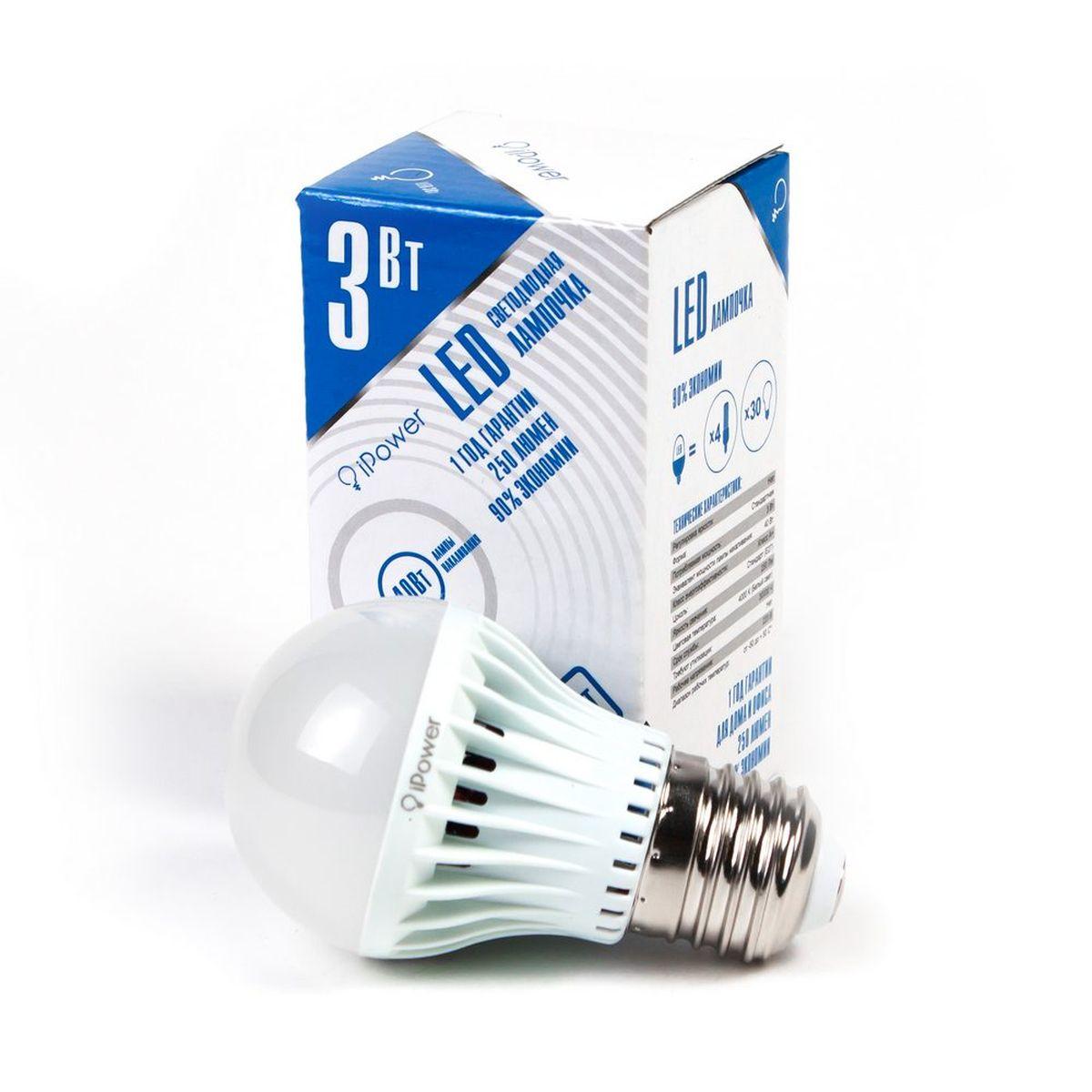 Лампа светодиодная iPower, цоколь Е27, 3W, 4000К1001947Светодиодная лампа iPower имеет очень низкое энергопотребление. В сравнении с лампами накаливания LED потребляет в 12 раз меньше электричества, а в сравнении с энергосберегающими - в 2-4 раза меньше. При этом срок службы LED лампочки в 5 раз выше, чем энергосберегающей, и в 50 раз выше, чем у лампы накаливания. Светодиодная лампа iPower создает мягкий рассеивающий свет без мерцаний, что совершенно безопасно для глаз. Она специально разработана по требованиям российских и европейских законов и подходит ко всем осветительным устройствам, совместимым со стандартным цоколем E27. Использование светодиодов от мирового лидера Epistar - это залог надежной и стабильной работы лампы. Нейтральный белый оттенок свечения идеально подойдёт для освещения, как офисов, образовательных и медицинских учреждений, так и кухни, гостиной. Диапазон рабочих температур: от -50°C до +50°С. Материал: поликарбонат. Потребляемая мощность: 3 Вт. Рабочее напряжение: В 220В. Световая температура: 4000К (белый свет). Срок службы: 30000 часов. Форма: стандарт. Цоколь: стандарт (E27). Эквивалент мощности лампы накаливания: 40 Вт. Яркость свечения: 250 Лм.