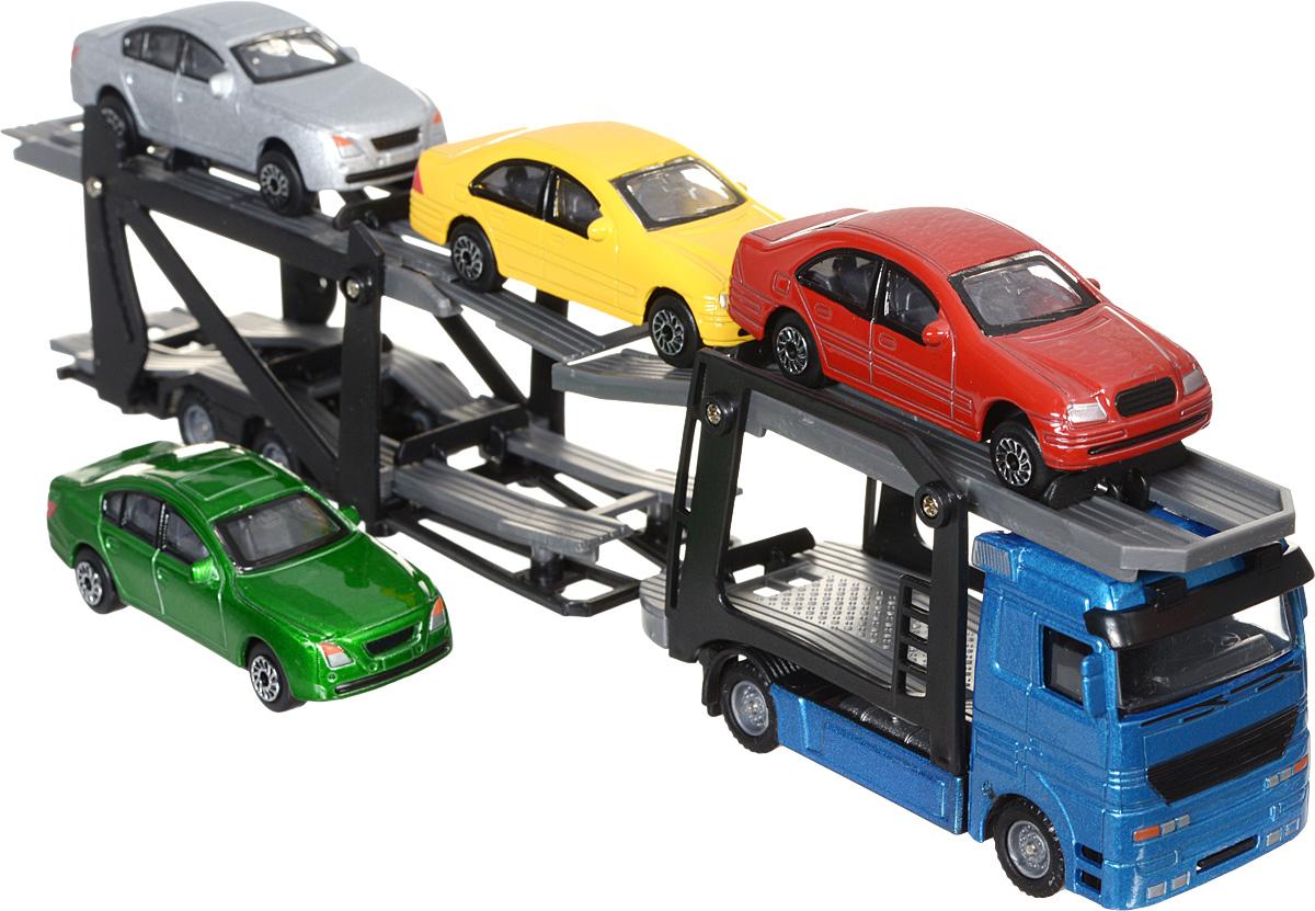 Dickie Toys Набор машинок Car Trailer цвет автовоза голубой 5 шт