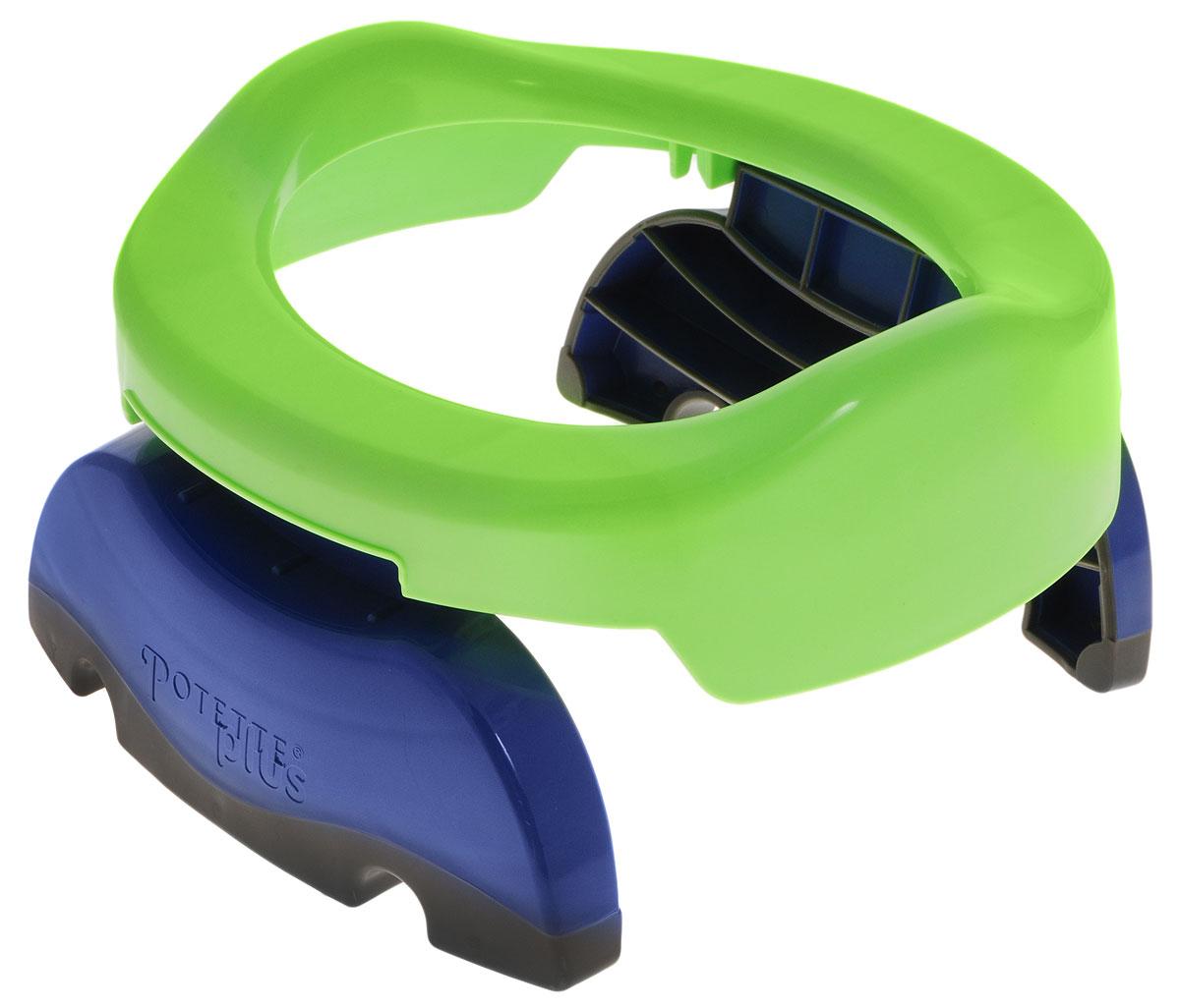 Дорожный горшок Potette Plus, цвет: зеленый23011Уникальный дорожный горшок Potette Plus предназначен для детей от 15 месяцев, который может стать незаменимым помощником для родителей в дороге. Детский дорожный горшок оснащен складными ножками и удобным сиденьем, на которое с легкостью устанавливаются специальные пакеты с впитывающим слоем. После использования пакет просто складывается и утилизируется как подгузник. Кроме того, горшочек легко трансформируется в удобное для ребенка сидение для унитаза с нескользящими ножками. В комплект с горшком входят три влагостойких пакета с впитывающим слоем. С дорожным горшком Potette Plus путешествие станет удобным и беззаботным для вас и вашего малыша. Характеристики: Материал: пластик, полиэтилен. Размер горшка (без учета ножек): 22,5 см x 21,5 см x 7 см. Изготовитель: Китай. Рекомендуем!