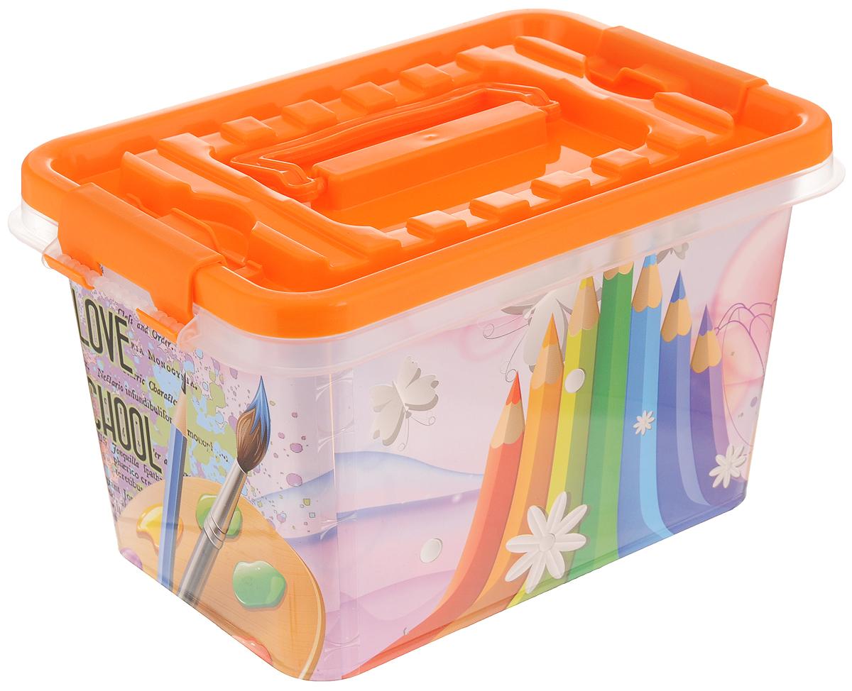 Контейнер для хранения Альтернатива Школьник, с крышкой, цвет в ассортименте, 4 л ящики для игрушек альтернатива башпласт контейнер лапландия 7 л