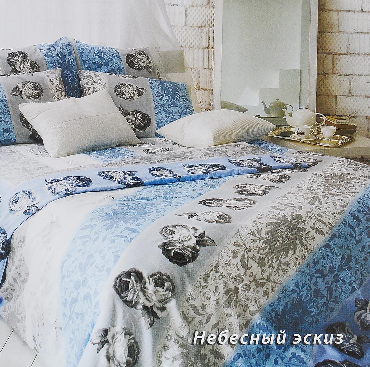 Комплект белья Tiffany's Secret Небесный эскиз, семейный, наволочки 50х70, цвет: голубой, белый, серый комплект постельного белья tiffany s secret евро сатин небесный эскиз