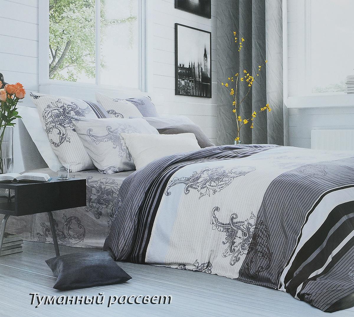 Комплект белья Tiffany's Secret Туманный рассвет, евро, наволочки 50х70, цвет: серый, белый комплект постельного белья tiffany s secret евро сатин туманный рассвет n50