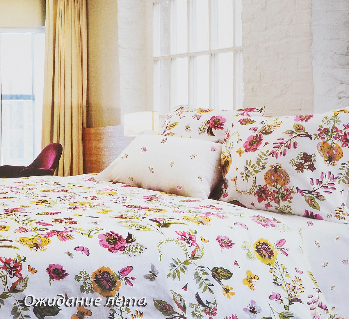 Комплект белья Tiffany's Secret Ожидание лета, евро, наволочки 50х70, цвет: белый, розовый, желтый комплект постельного белья tiffany s secret секреты вдохновения ожидание лета евро 2040816120 наволочки 50х70 70х77 белый зеленый бордовый