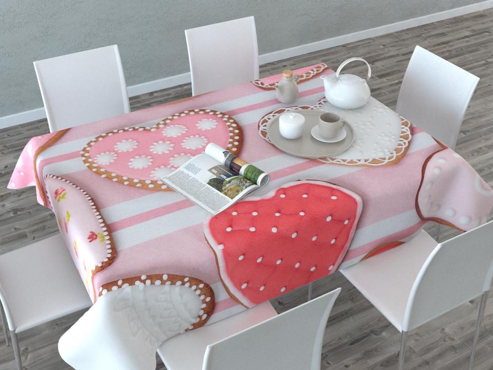 Скатерть Сирень Пряничные сердечки, прямоугольная, 145 x 120 см фотошторы пряничные сердечки сирень шторы современные