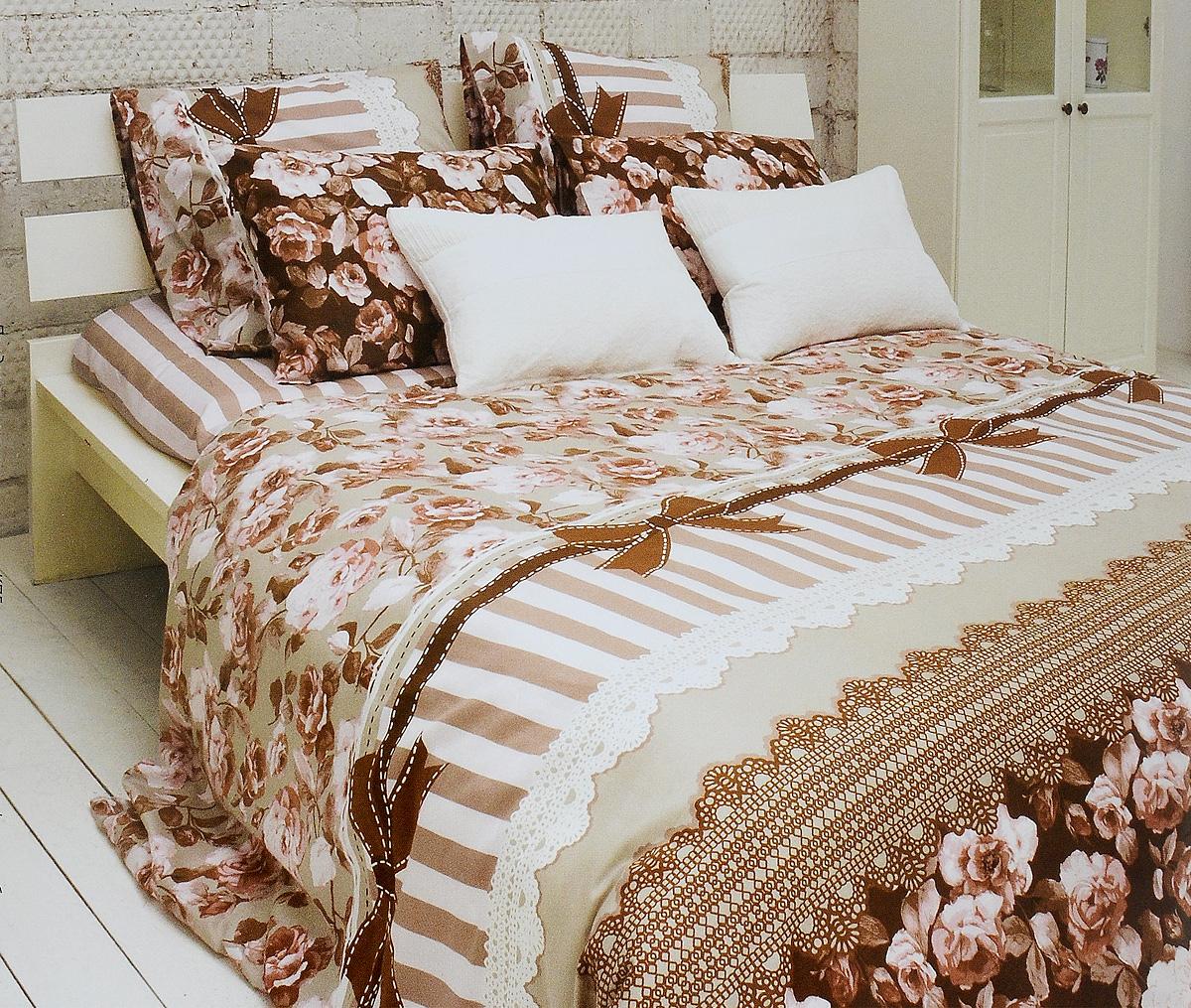 Комплект белья Tiffany's Secret Шоколадный этюд, евро, наволочки 70х70, цвет: розовый, коричневый, белый комплект белья tiffany s secret шоколадный этюд 2 спальный кпб сатин наволочки 50х70 70х70