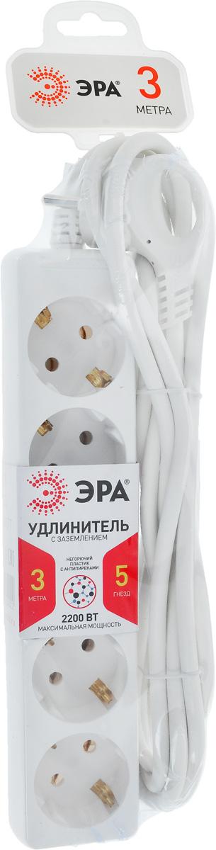 Удлинитель ЭРА U-5e-3m, с заземлением, 5 гнезд, 3 м эра б0028381 удлинитель u 4es 3m 3x1 с заземлением с выключателем 4 гнезда 3 м полипропилен 3х1 мм2