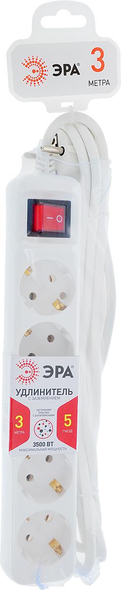 Удлинитель ЭРА U-5es-3m, с заземлением, с выключателем, 5 гнезд, 3 м удлинитель эра u 3 3m белый