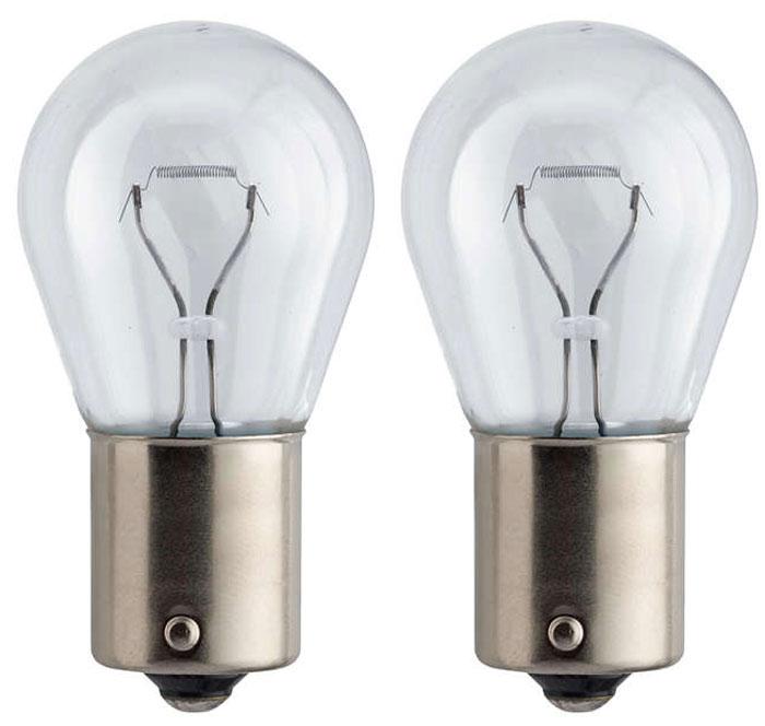 Лампа автомобильная галогенная сигнальная Philips Vision, цоколь BA15s, 12V, 21W, 2 шт сигнальная автомобильная лампа philips hipervision silver vision psy24w 12v 24w pg20 4 серебристый дизайн 12180sv c1