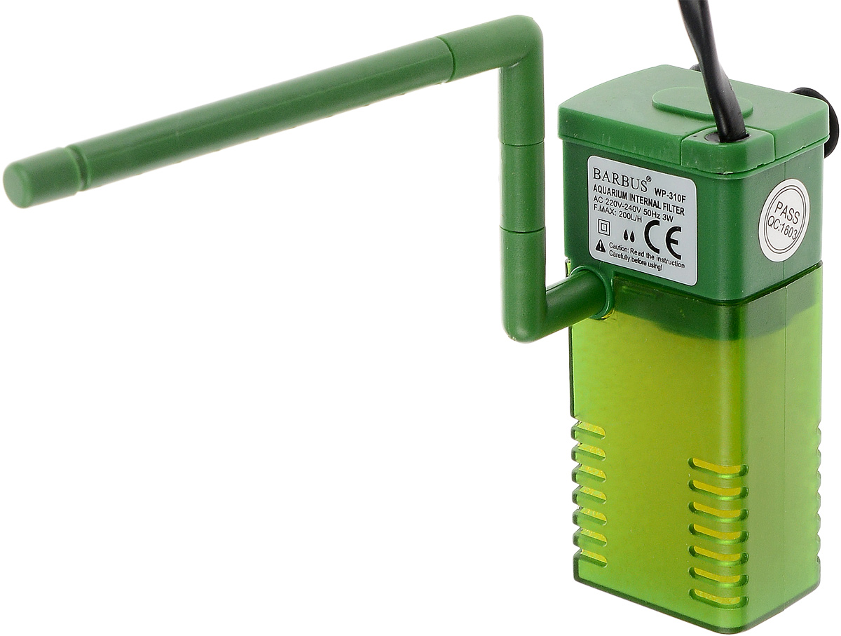Фильтр для аквариума Barbus WP-310F, внутренний, с регулятором и флейтой, 200 л/ч фильтр для аквариума barbus wp 310f внутренний с регулятором и флейтой 200 л ч