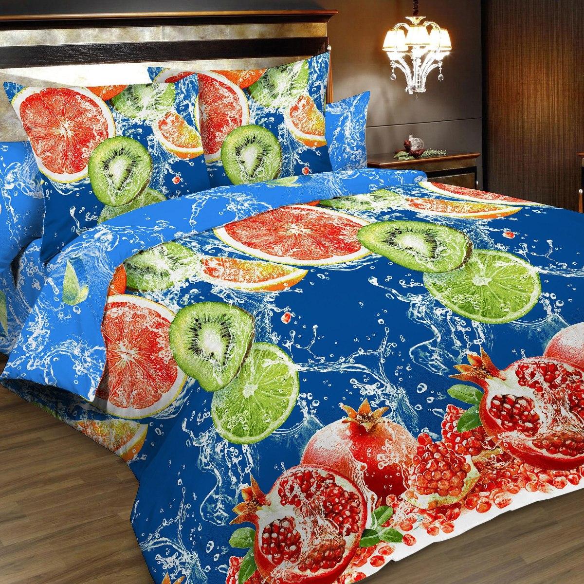 """Комплект белья """"Letto"""", 2-спальный, наволочки 70х70, цвет: синий, красный. B166-4"""