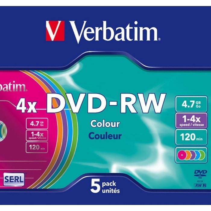 Диск DVD-RW Verbatim 4.7Gb 4x Slim Color (5 шт) оптический диск dvd rw диск verbatim 4 7gb 4x 5шт slim case color 43297