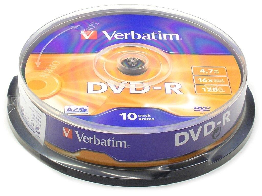 Диск DVD-R Verbatim 4.7Gb 16x Cake Box (10 шт) диск blu ray verbatim bd re 2x 25 gb 10 шт cake box 43694