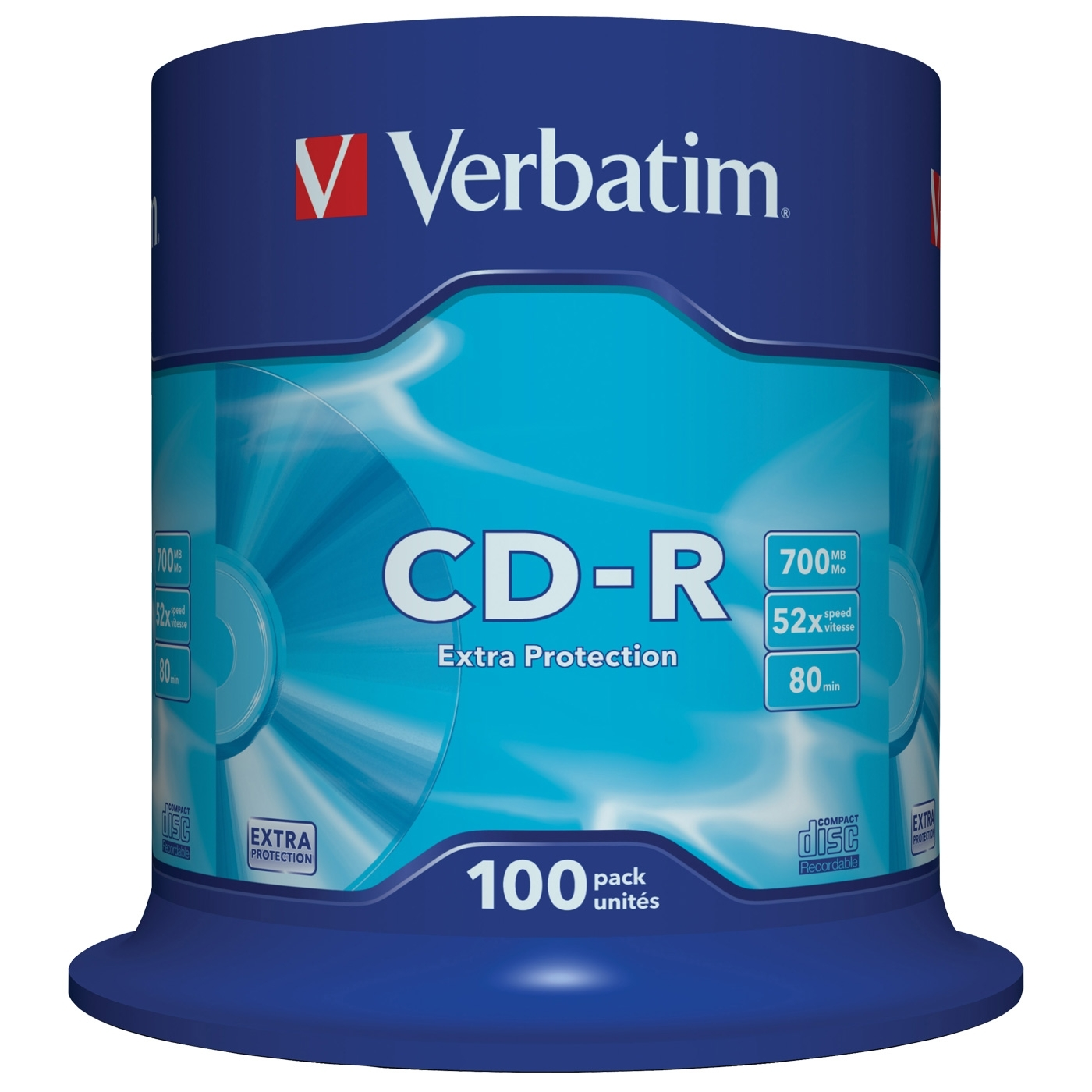 Диск CD-R Verbatim 700Mb 52x DataLife Cake Box, 100 шт (43411) диски cd r 80min 700mb verbatim 52x 100 шт cake box 43411