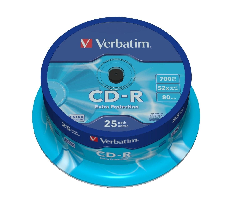 Диск CD-R Verbatim 700Mb 52x DataLife Cake Box, 25 шт (43432) verbatim коврик verbatim pisa italy v4 p