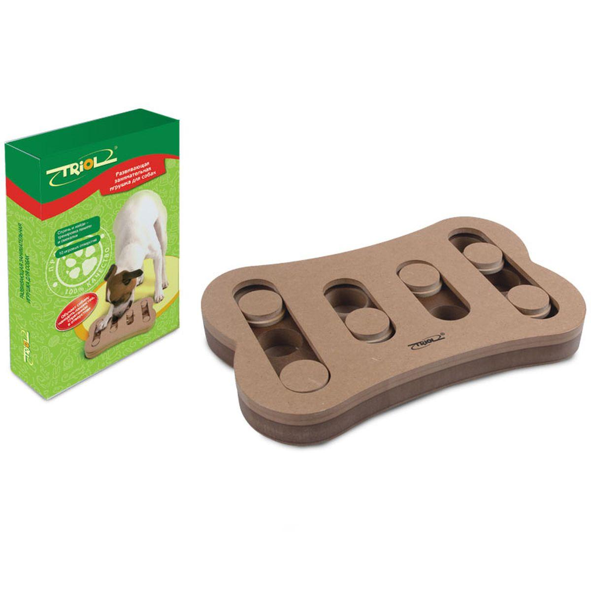 Игрушка для собак Triol Спрячь и найди, 29,5 х 19 х 3,4 смTT02Развивающая игрушка для собак Triol Спрячь и найди не просто скрашивают досуг питомца и его владельца, они помогают в дрессировке, тренируют память и мышление домашних питомцев, да и просто украшают интерьер своим необычным видом. Практичная игрушка, наполняемая кормом, для щенков и собак, займет вашего четвероногого друга на долгие часы. Вам достаточно лишь спрятать угощение в одной из лунок и накрыть их пятнашками. Используя лапы и нос, собака сама сможет определять, где именно спрятано лакомство, и доставать его оттуда. Игрушка Спрячь и найди предназначена для тренировки памяти и смекалки. На каждой стороне игрушки есть специальные отверстия, в которые можно положить кусочки лакомств, чтобы питомцам было гораздо интереснее выполнять задания. Развивающая игрушка-кормушка для собак Triol Спрячь и найди стимулирует охотничьи навыки собаки, стимулируя ее к активному поиску обычного корма или лакомства. Размер: 29,5 х 19 х 3,4 см. Рекомендуем!
