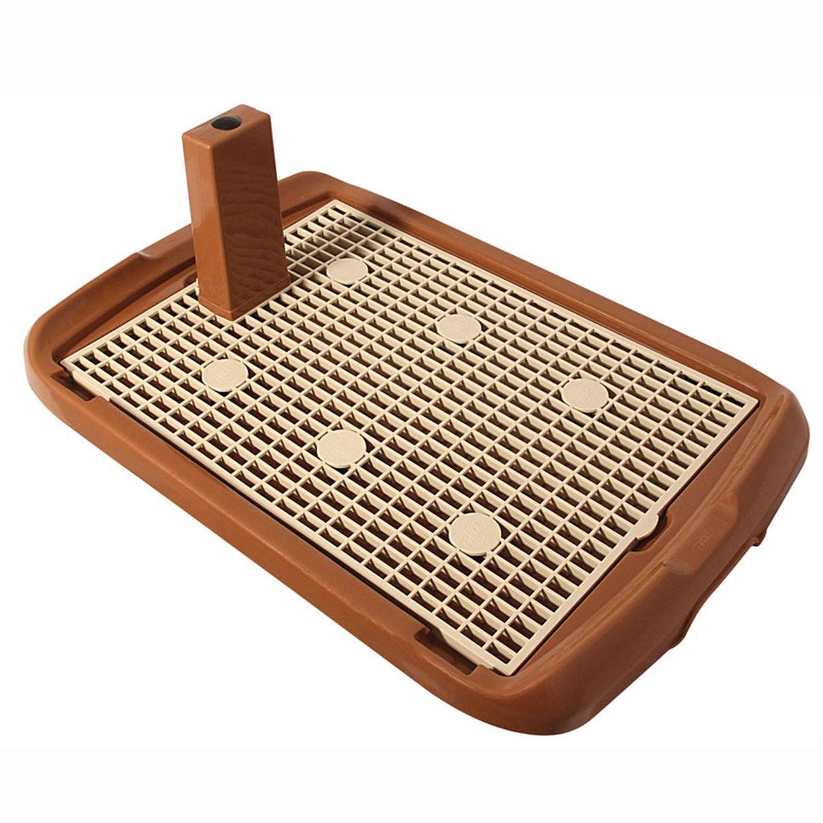 Туалет для собак Triol, со столбиком, цвет: коричневый, 60 х 40 х 4,5 см туалет для собак triol 48 х 42 х 4 см