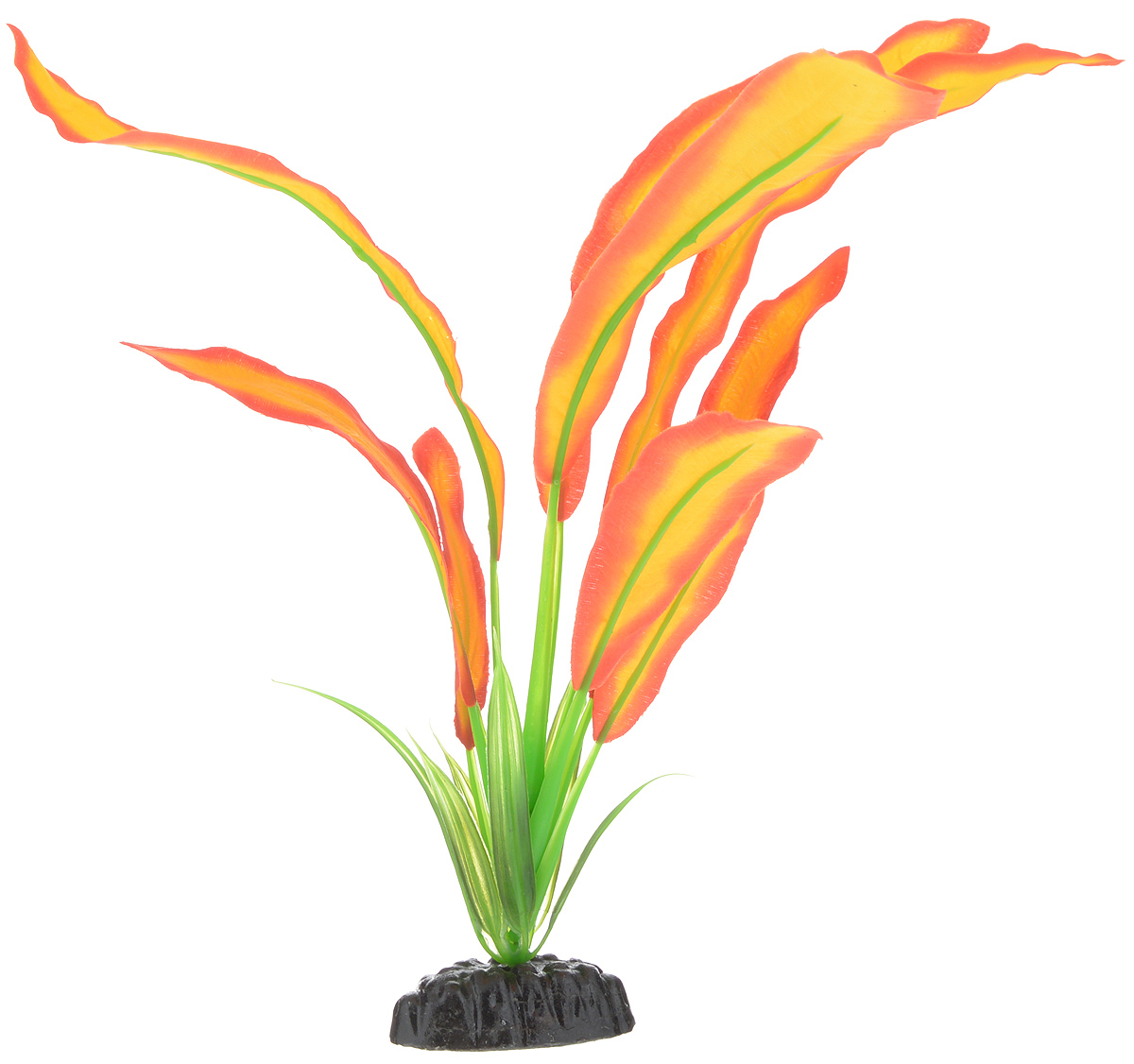 Растение для аквариума Barbus Эхинодорус Бартхи, шелковое, цвет: красный, желтый, высота 30 см растение для аквариума barbus лотос шелковое высота 50 см